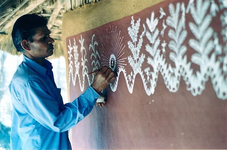 Warli painting in the making