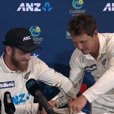 Watch: 'Fanboy' BJ Watling interrupts NZ skipper Kane Williamson's press conference