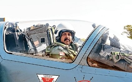 Indian Air Force Chief RKS Bhadauria flies an upgraded Mirage-2000 fighter during the multi-aircraft sortie to commemorate the second anniversary of the Balakot Operations.