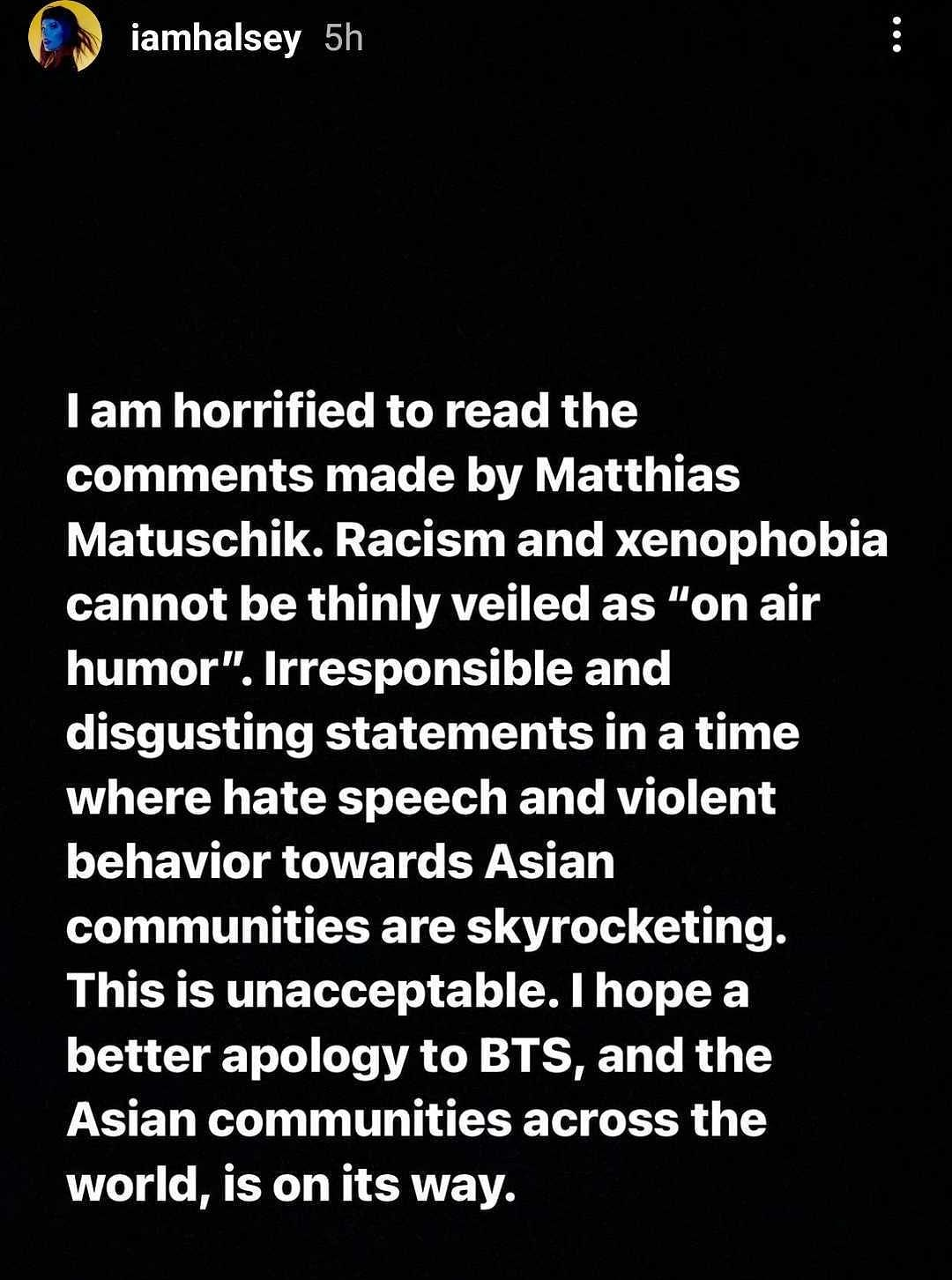 Bayern 3 Racism Row: Singers Halsey, Lauv, and Max speak out in support of BTS
