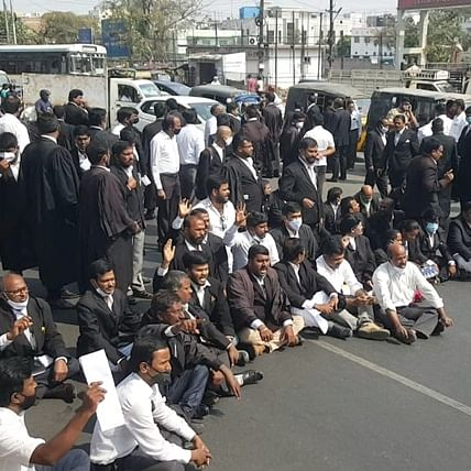 Hyderabad: Lawyers stage protest after couple stabbed to death in broad daylight