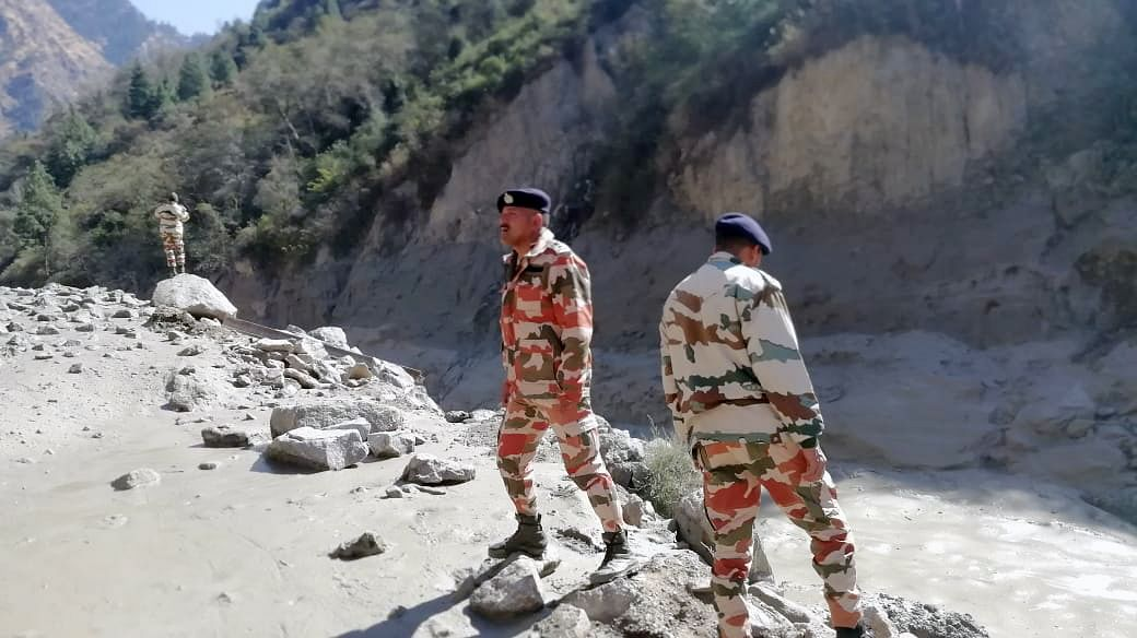 ITBP personnel assess the damages in Tapovan and area of Reni where flash flood occurred.