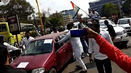 Indore: Youth Congress activists stage demonstration against fuel price hike, detained by city police