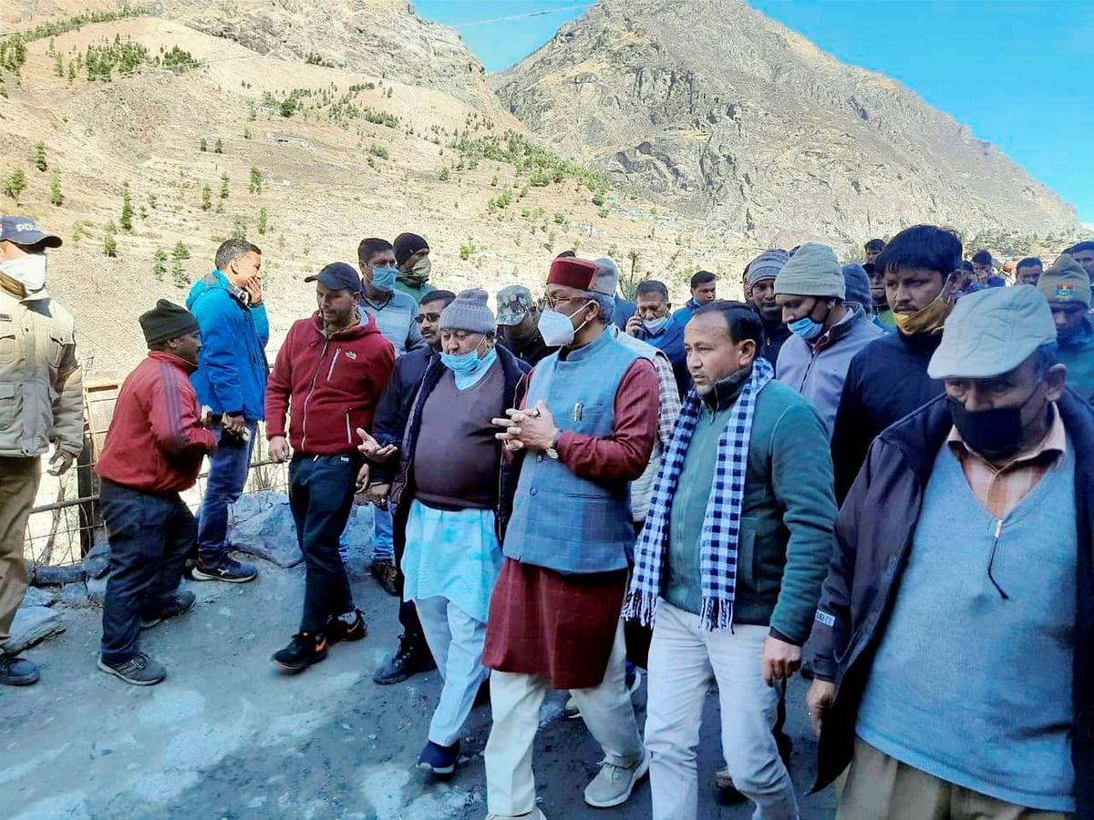 Chamoli: Uttarakhand Chief Minister Trivendra Singh Rawat inspects flood hit areas, after a glacier broke off in Joshimath in Uttarakhand?s Chamoli district causing a massive flood in the Dhauli Ganga river, Sunday, Feb. 7, 2021.