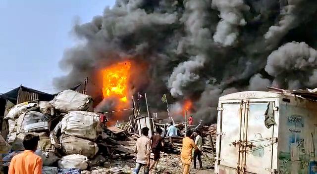 Mumbai: Fire fighting operation underway at Mankhurd scrapyard