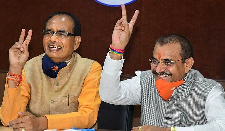 BJP's MP chief VD Sharma with Chief Minister Shivraj Singh Chouhan