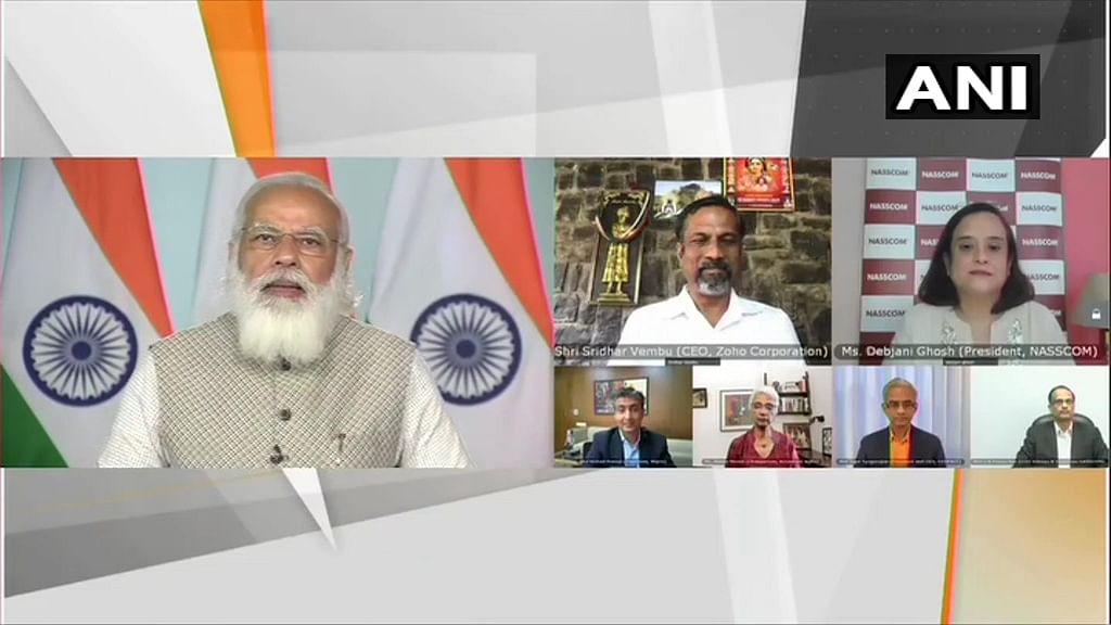 PM Modi speaking at NASSCOM Technology & Leadership Forum