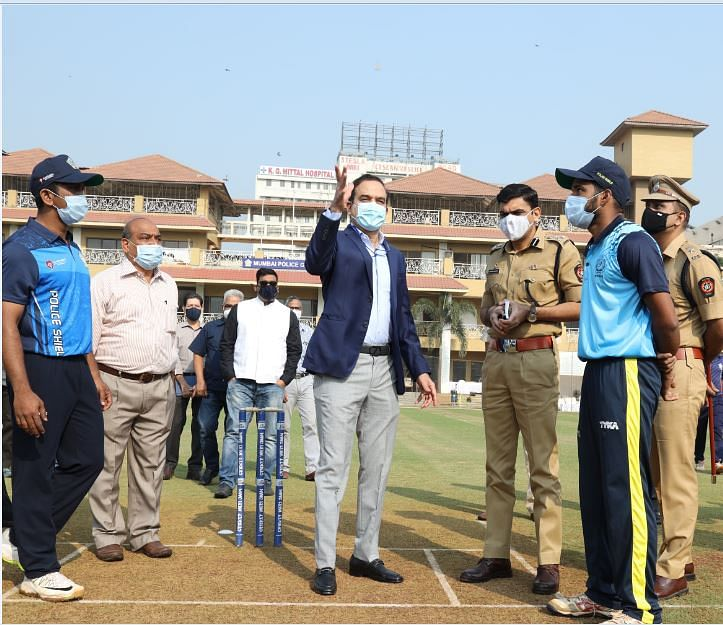 Param Bir Singh (centre), Commissioner of Police, Mumbai along with the other officials inaugurating the 73rd Police Invitation Shield Cricket Tournament which was inaugurated at the Mumbai Police Gymkhana on Saturday.