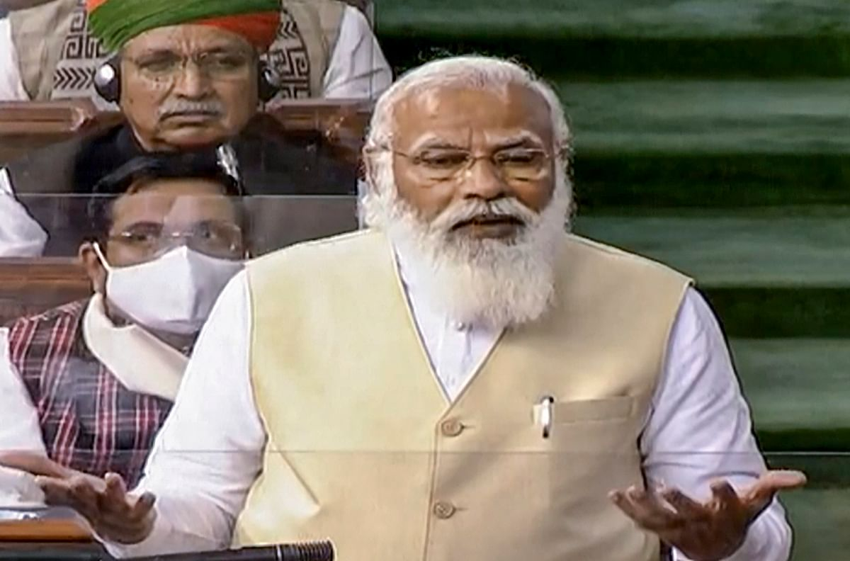 Prime Minister Narendra Modi speaks in the Lok Sabha during the ongoing Budget Session of Parliament, in New Delhi, Wednesday, Feb. 10, 2021.