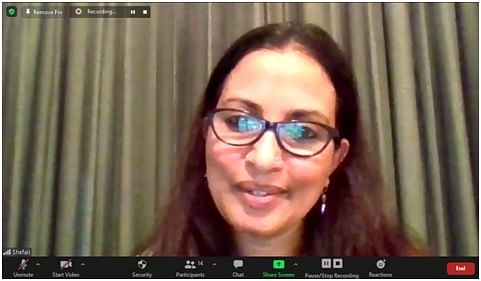 Author Shefali Tripathi Mehta interacting in an online session, organised by Club Literati, Bhopal, on Saturday evening