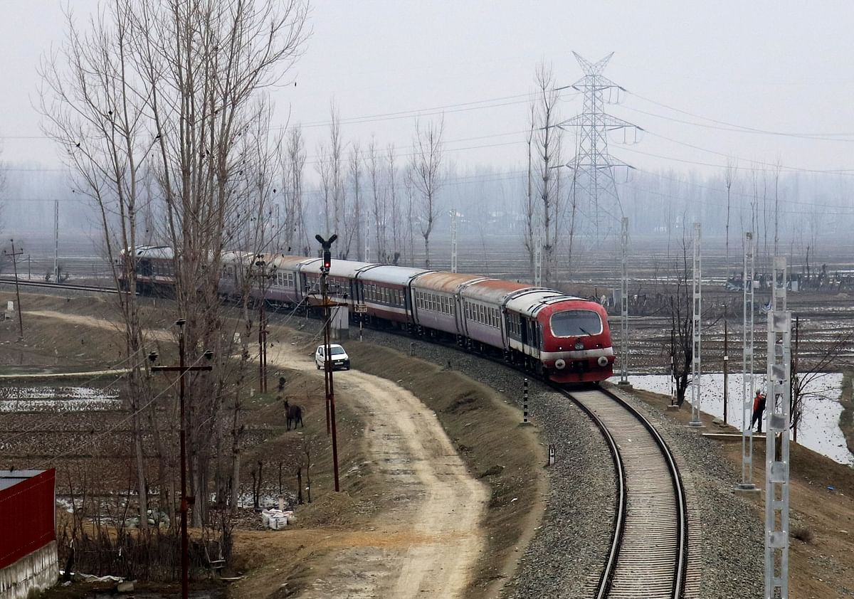 Train arrives at the Nowgam Railway station in Srinagar as the rail service connecting Banihal to Baramulla  resumed on Monday. After remaining suspended for 11 months due to the pandemic.