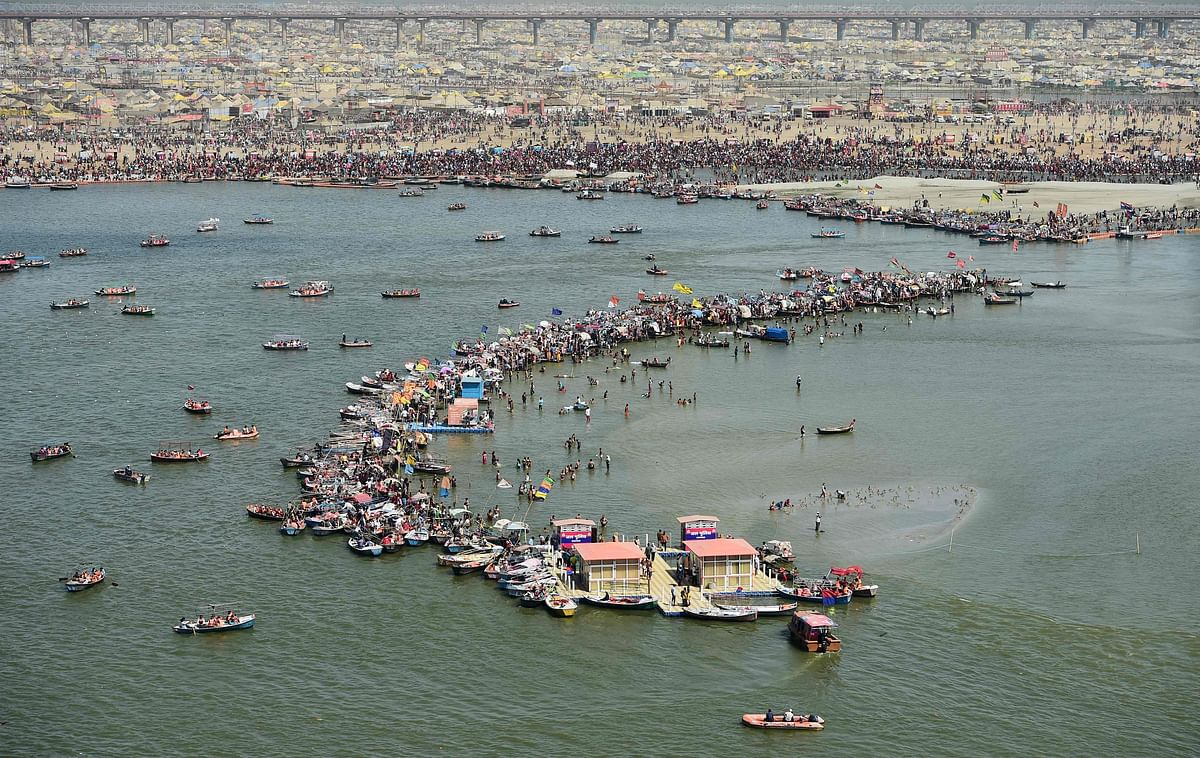 An aerial view shows Hindu devotees at the Sangam area.