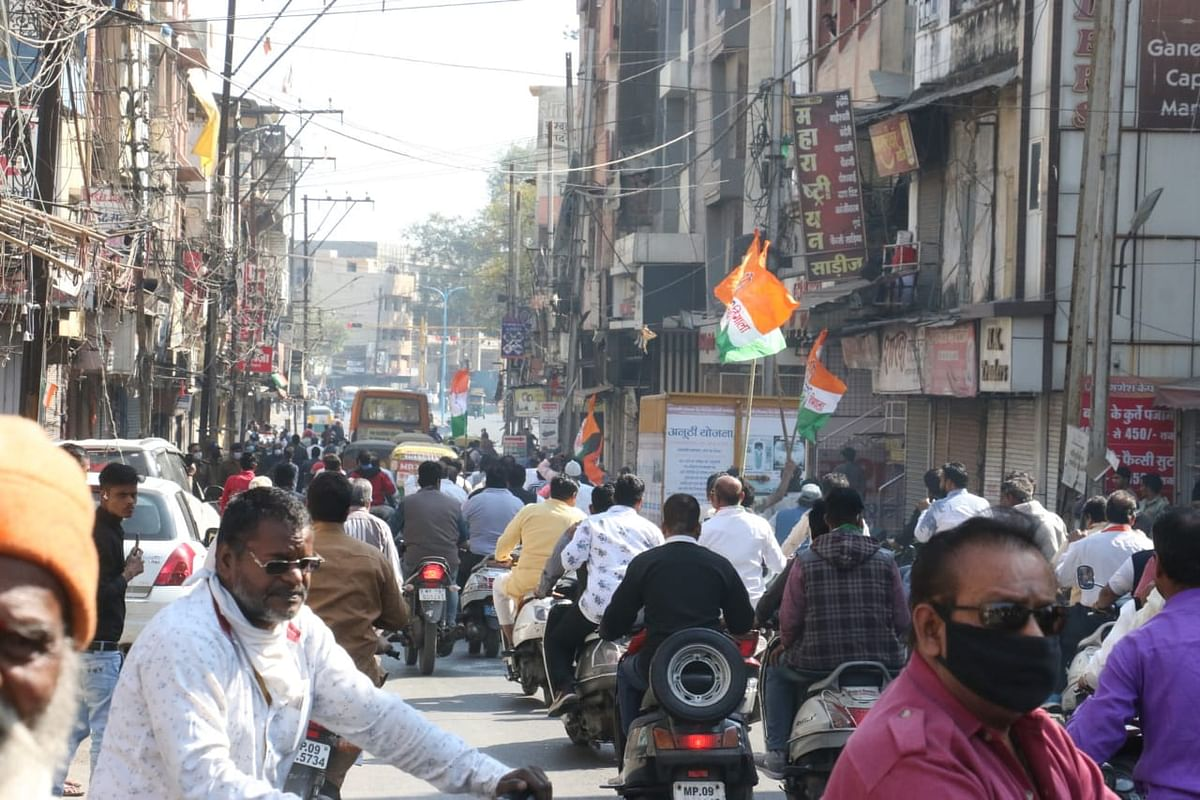 A view of Rajwada area shops in Indore on Saturday