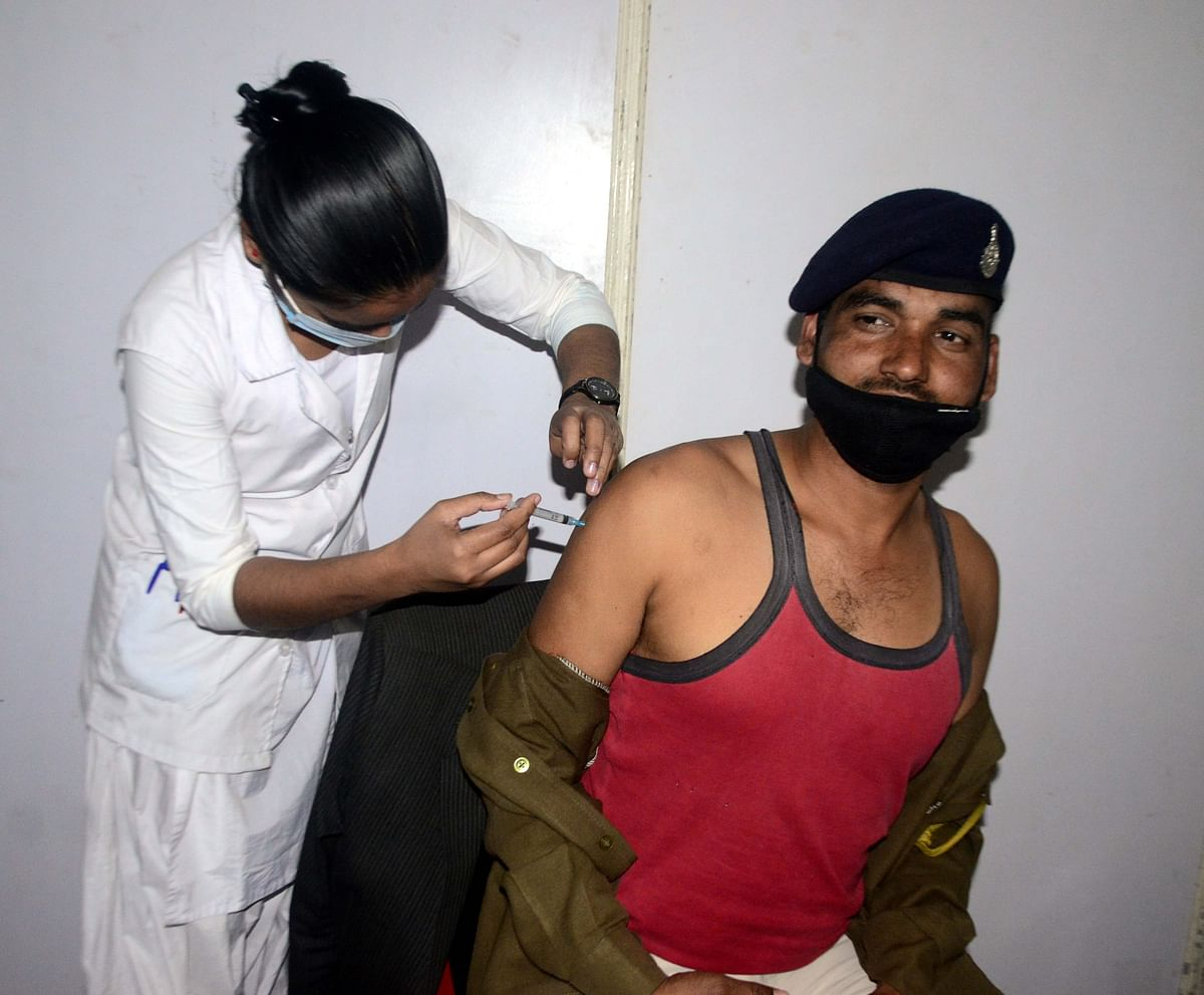 Frontline workers' vaccination continued in the state capital, Bhopal, on Saturday.