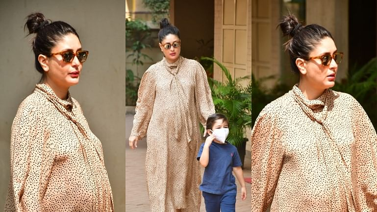 In Pics: 9-months pregnant Kareena Kapoor steps out in style with son Taimur