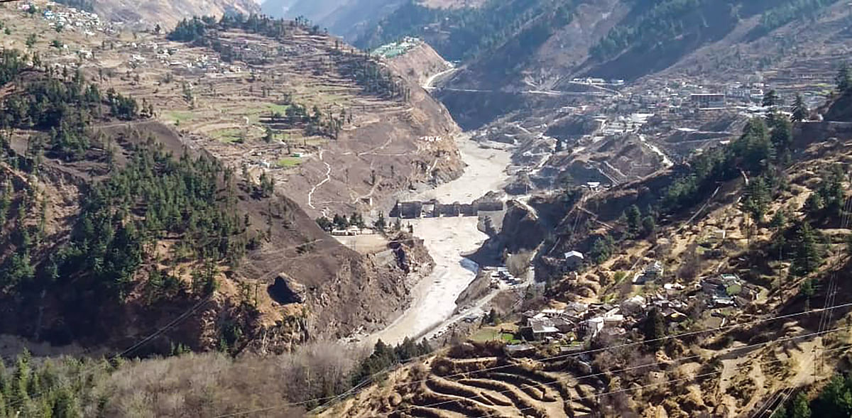 Chamoli: Damaged dam of the Rishi Ganga Power Project, after a glacier broke off in Joshimath in Uttarakhand?s Chamoli district causing a massive flood in the Dhauli Ganga river, Sunday, Feb. 7, 2021