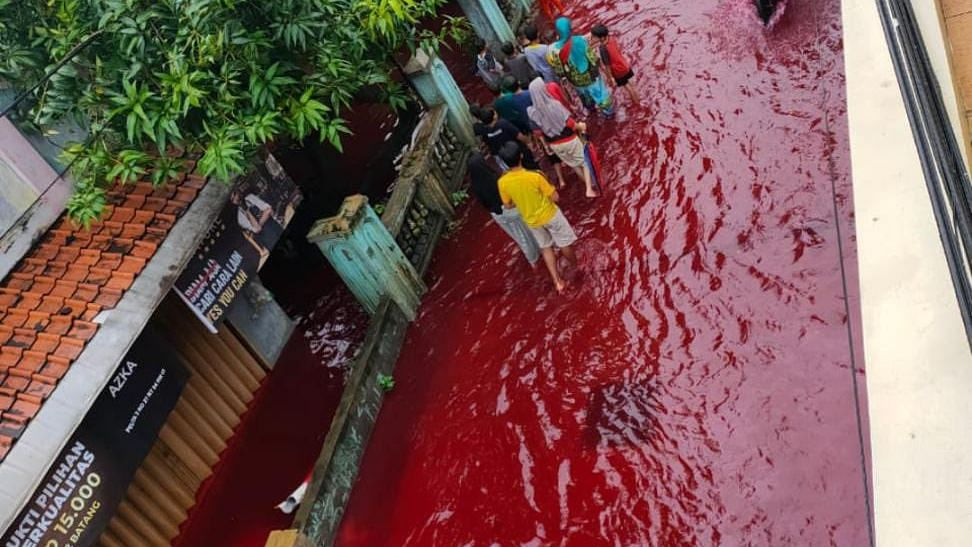 Waters in Indonesian village turn red as floods hit dye-manufacturing factory