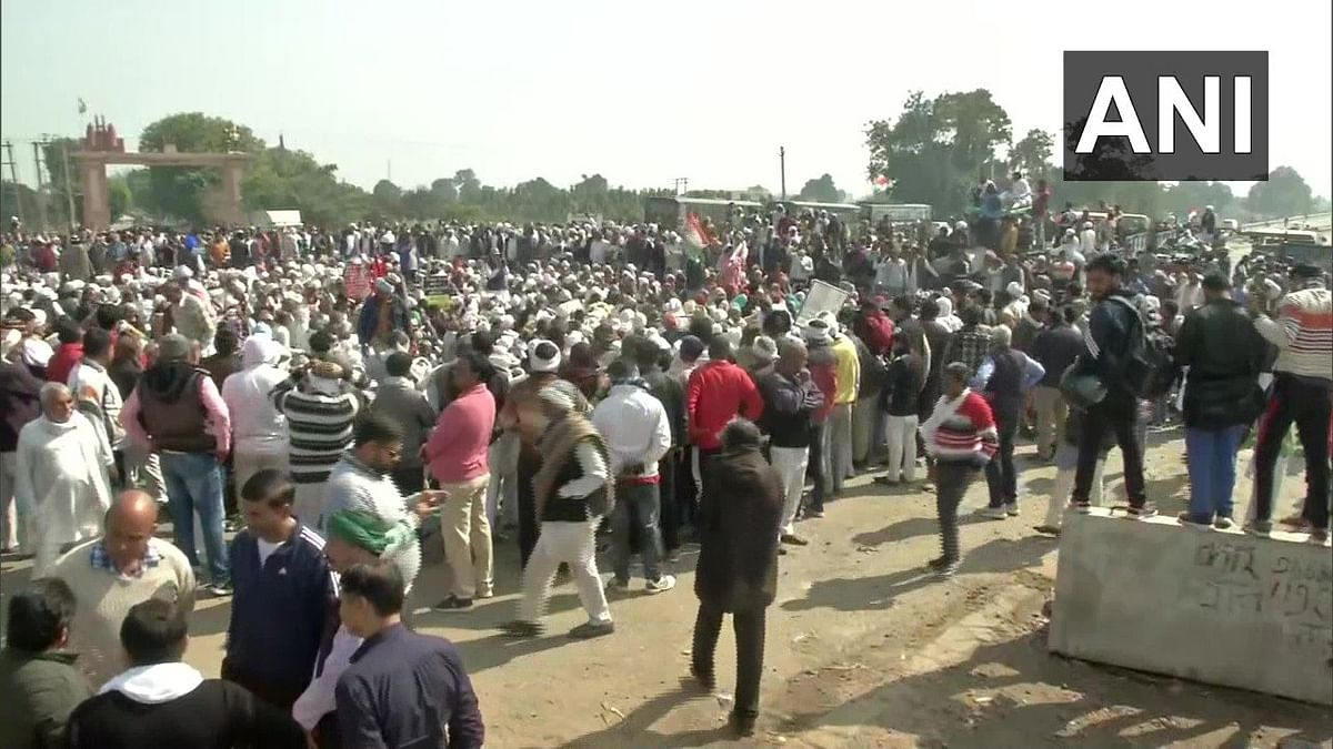 Protests being held at Atohan Chowk near Palwal in Haryana as part of countrywide 'Chakka Jaam' call given by farmers.
