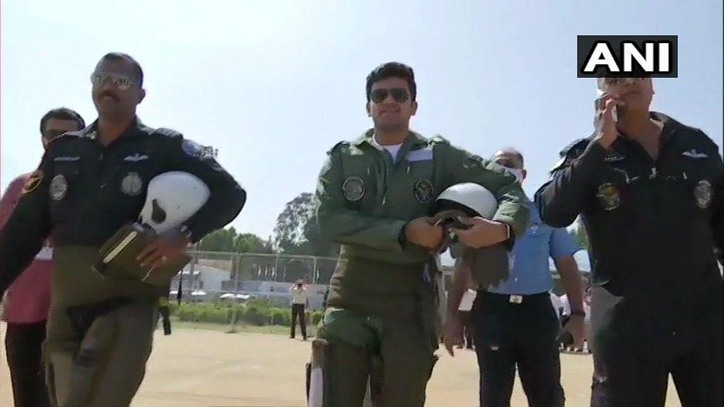 Aero India 2021: Bengaluru MP Tejasvi Surya takes to the skies in LCA Tejas aircraft; see pics