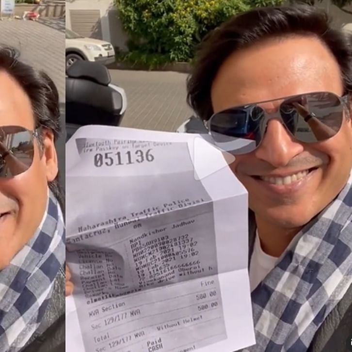 Watch: Vivek Oberoi mocks Mumbai Police with 'pawri' meme after being fined for riding bike sans helmet