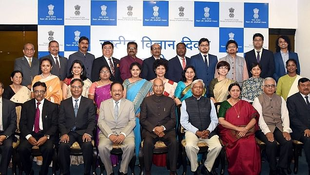 The 10 women in science (in the middle row), who were felicitated on the occasion of National Science Day, last year. The focal theme was Women in Science.