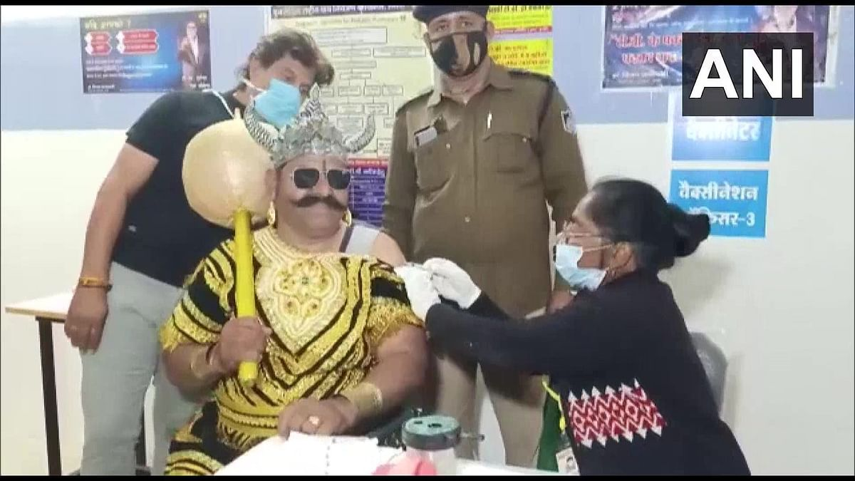 Donning the garb of Yamraj, a policeman took Covid-19 vaccine in Indore on Wednesday to spread the message that every frontline worker should take jab when their turn comes