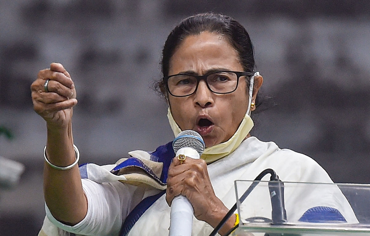 Kolkata: West Bengal Chief Minister Mamata Banerjee addresses during the Scheduled Castes and Scheduled Tribes Sammelan, in Kolkata, Thursday, Feb 4, 2021