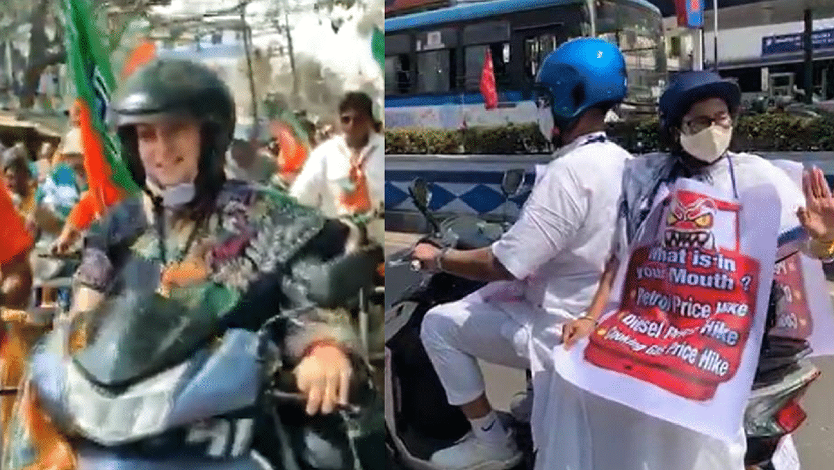 From Smriti Irani to Mamata Banerjee - Politicians are now stepping out on two-wheelers in poll-bound West Bengal
