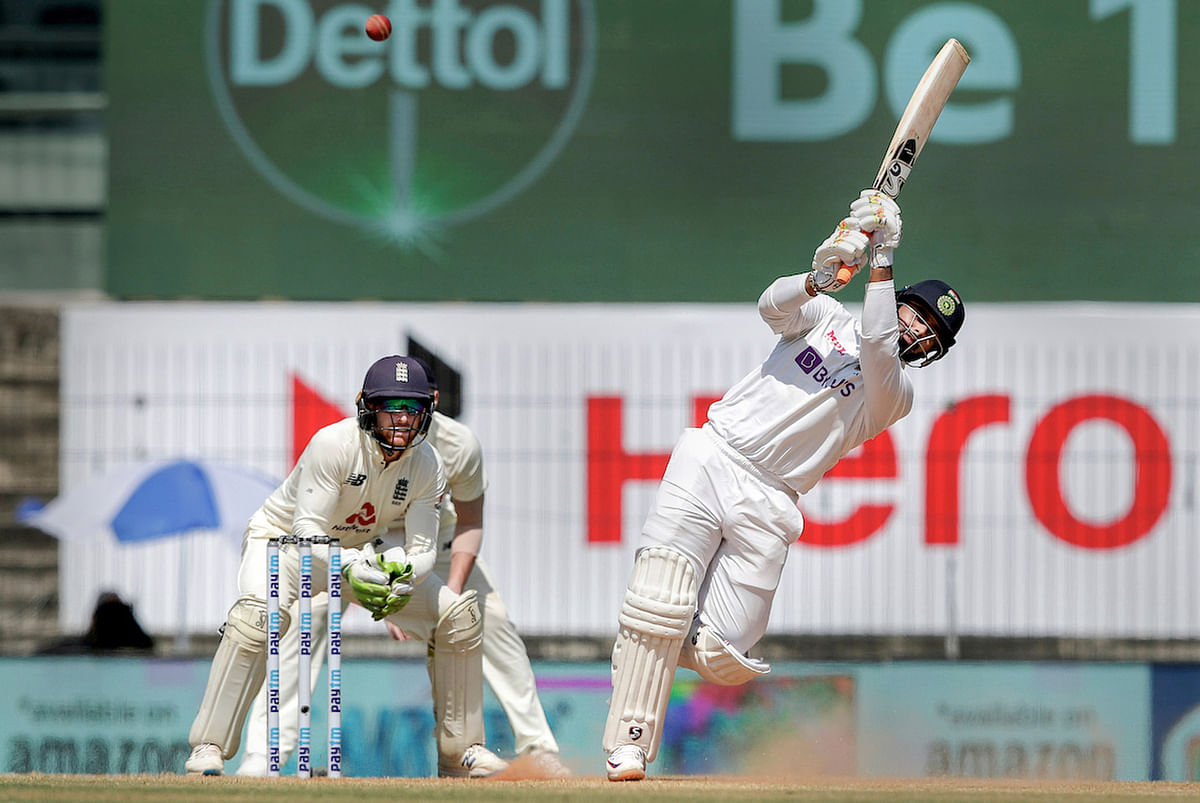 Chennai: Indian player Rishabh Pant plays a shot during the 3rd day of first cricket test match between India and England, at MA Chidambaram Stadium, in Chennai, Sunday, Feb. 7, 2021.