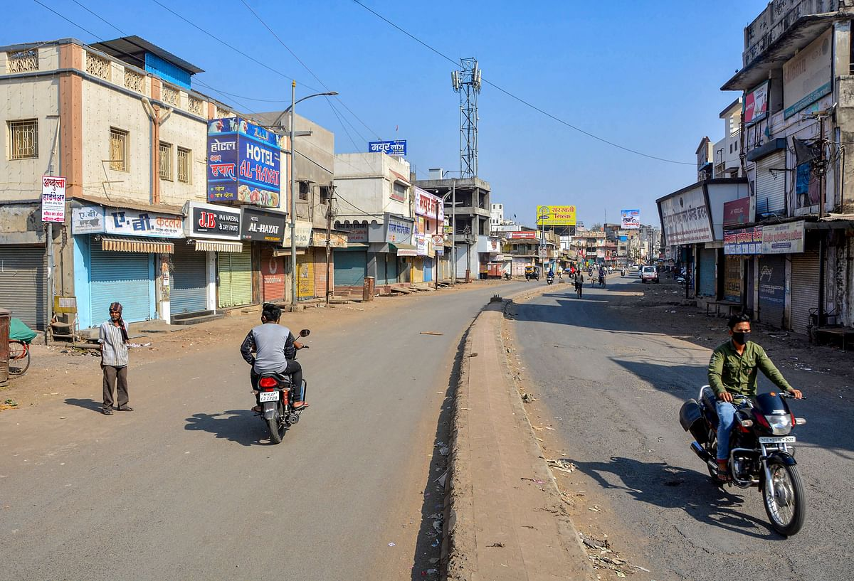 Amravati: City streets wear almost a deserted look after a restriction was imposed due to an increase in COVID-19 cases, in Amravati, Maharashtra, Wednesday, Feb 24, 2021.