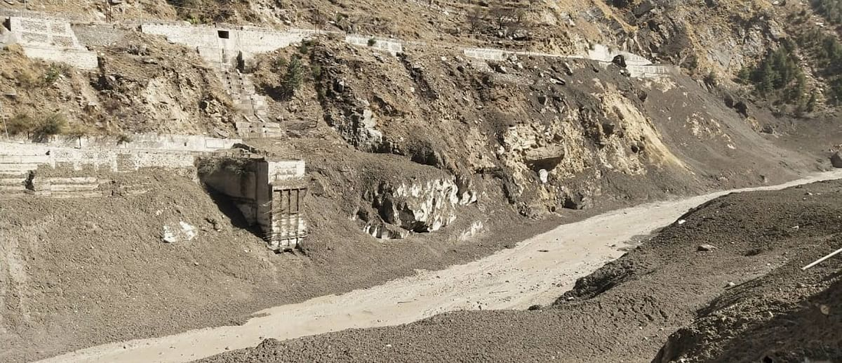 Chamoli: Bridge connecting Tapovan to Bhanguel village damaged in floods, after a glacier broke off in Joshimath in Uttarakhand?s Chamoli district causing a massive flood in the Dhauli Ganga river, Sunday, Feb. 7, 2021.