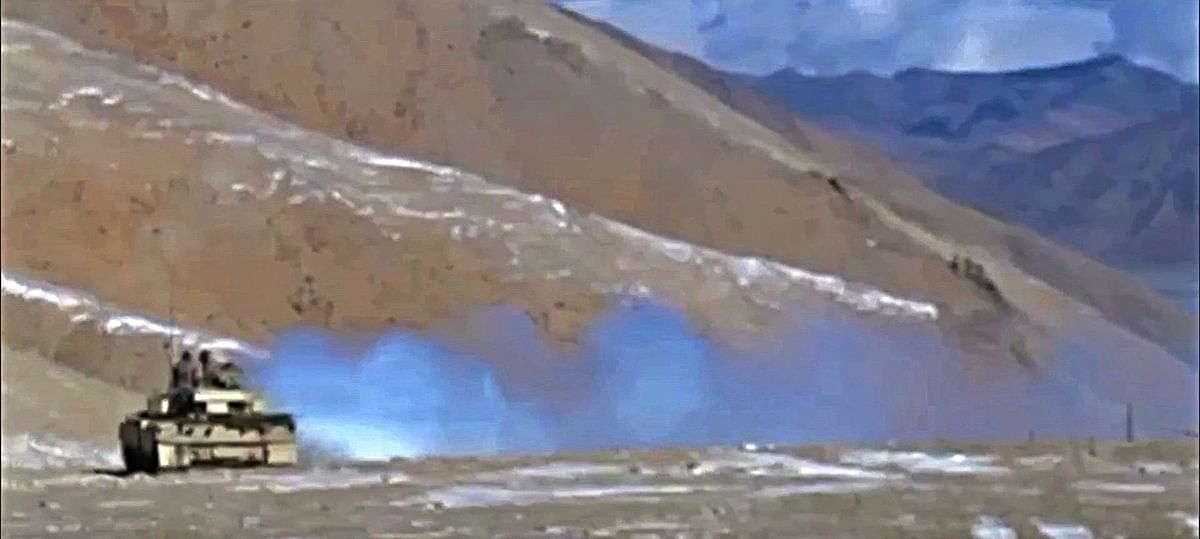 First Peoples Liberation Army (PLAs) tank disengaging during the ongoing disengagement process in Ladakh