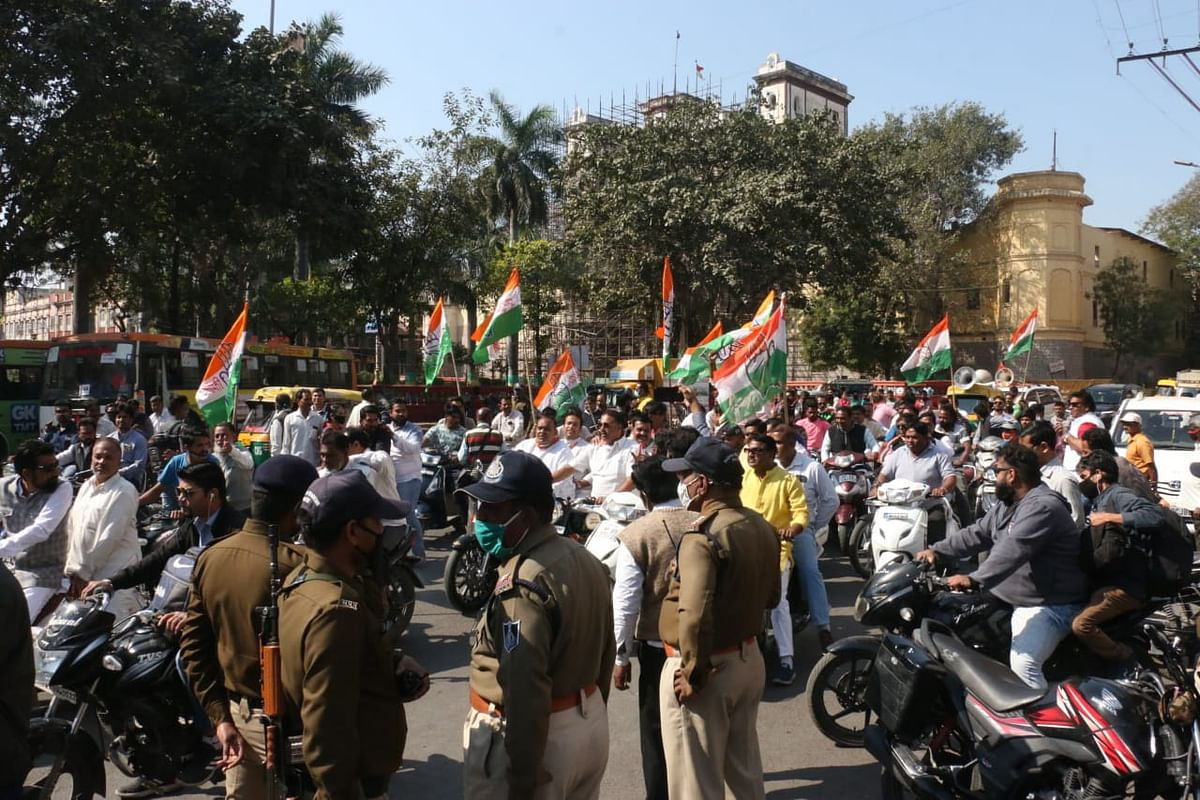 Congress party leaders during demonstration at Rajwada in Indore on Saturday