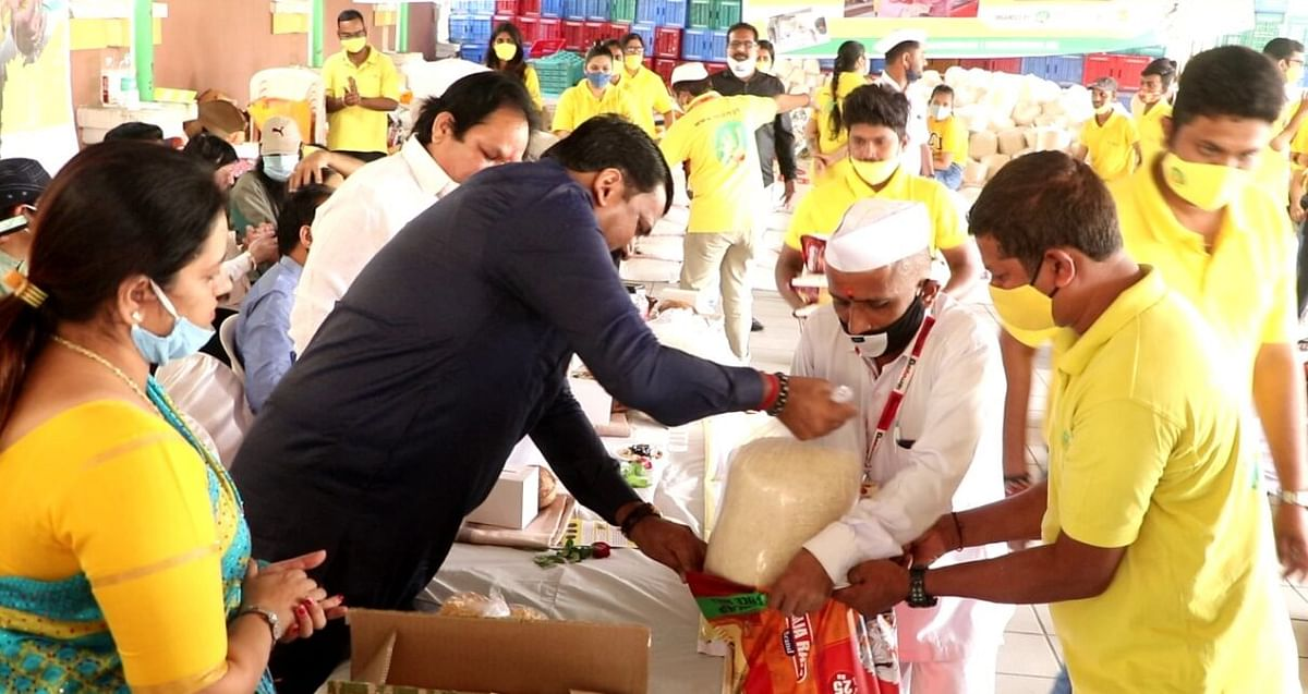 Ration kits being distributed by the MTD in Mira Road