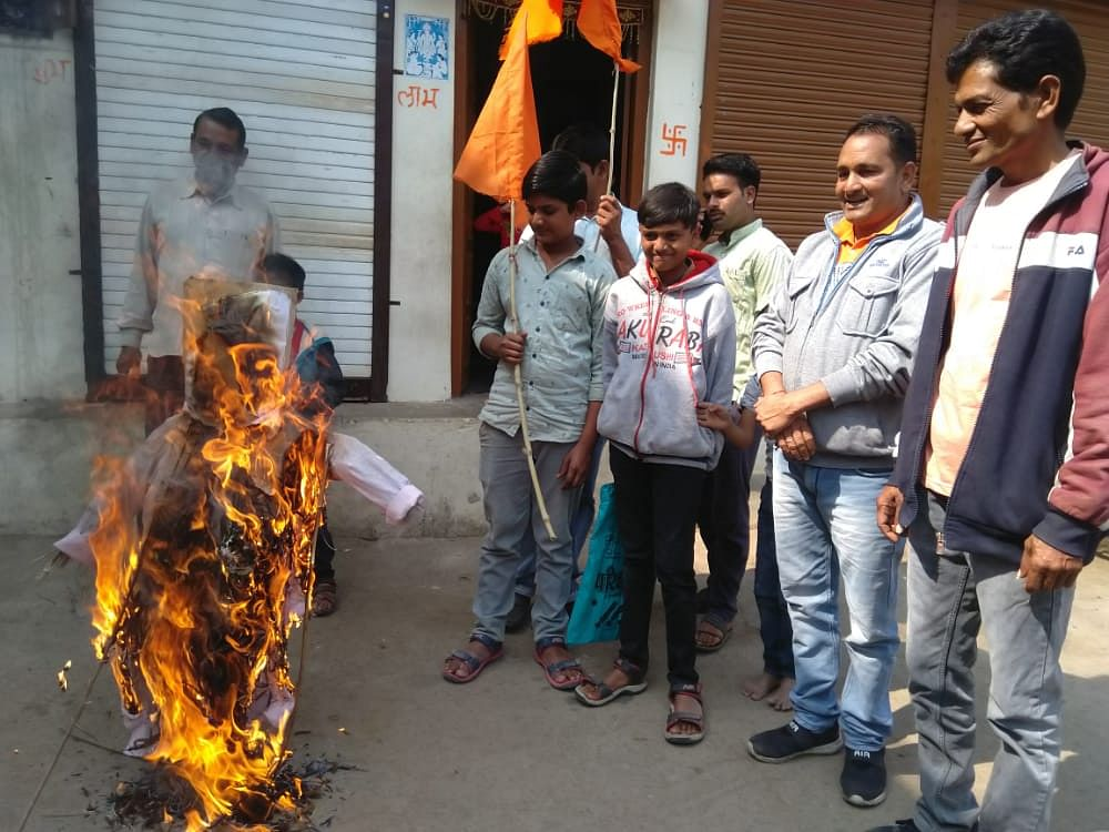 Madhya Pradesh: Outrage against MLA Bhuria continues for his controversial remark, effigy burnt in Dhar, Mahidpur