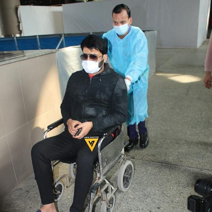Kapil Sharma spotted at Mumbai airport in a wheel chair, concerned fans say 'get well soon'