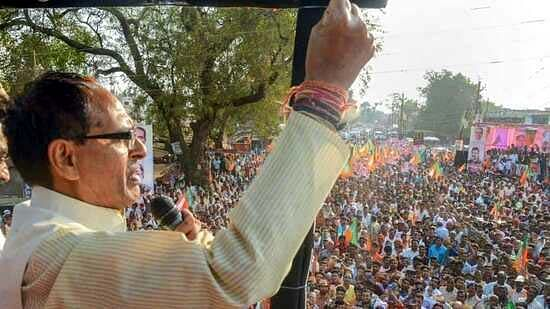 Chief Minister Shivraj Singh Chouhan addresses public rally in West Bengal on Sunday.