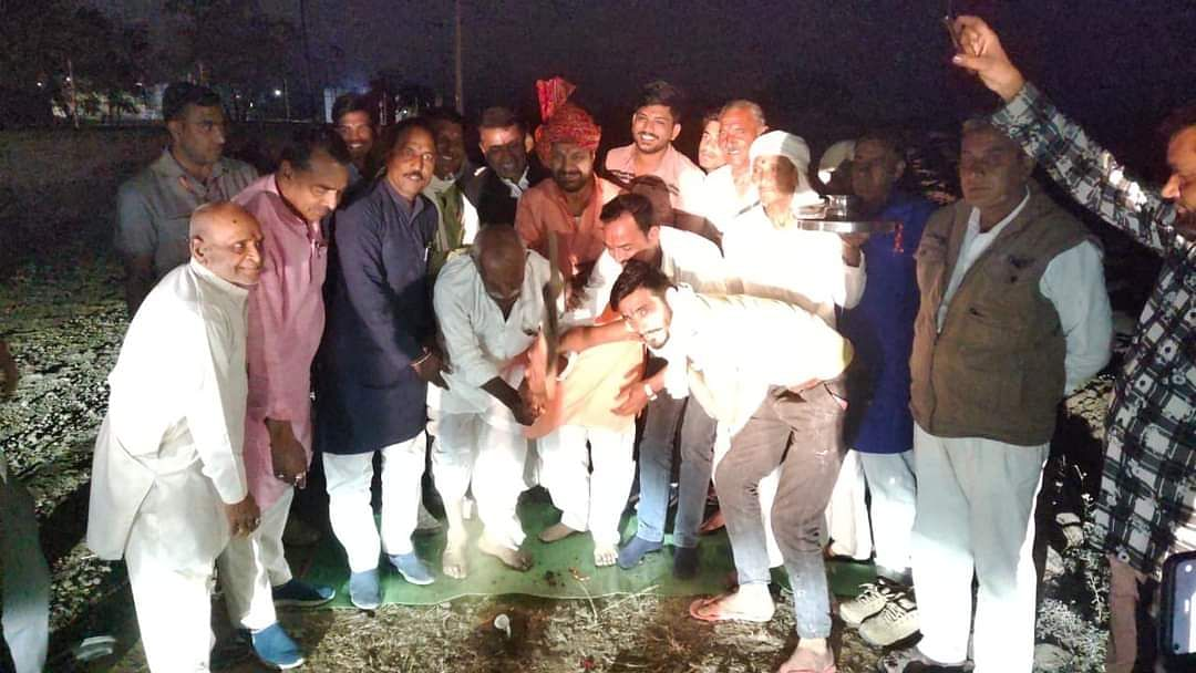 MLA Dilip Singh Gurjar performs bhumi pujan in Buranabad village on Monday