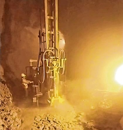 Drilling is being done in the tunnel on the seventh day of the rescue operation in Chamoli district on Saturday.