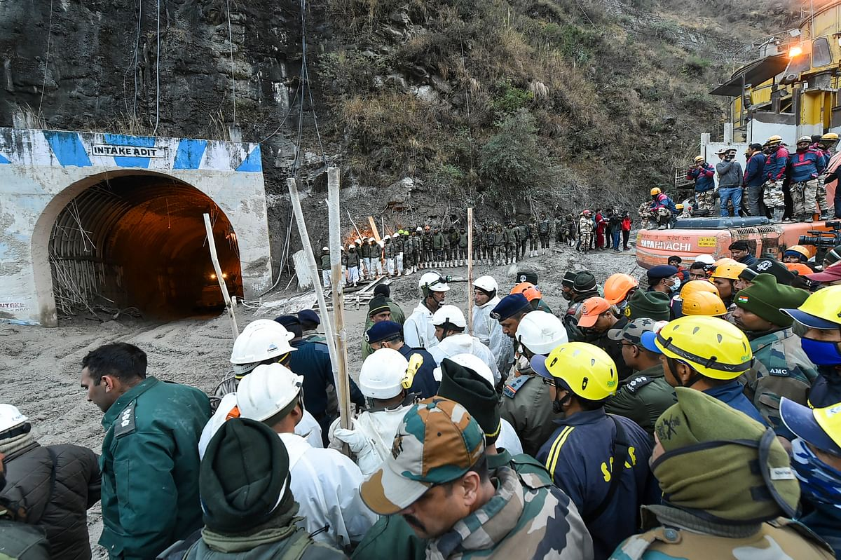 Rescue operations underway at Tapovan Tunnel, after a glacier broke off in Joshimath causing a massive flood in the Dhauli Ganga river, in Chamoli district of Uttarakhand, Monday, Feb. 8, 2021.