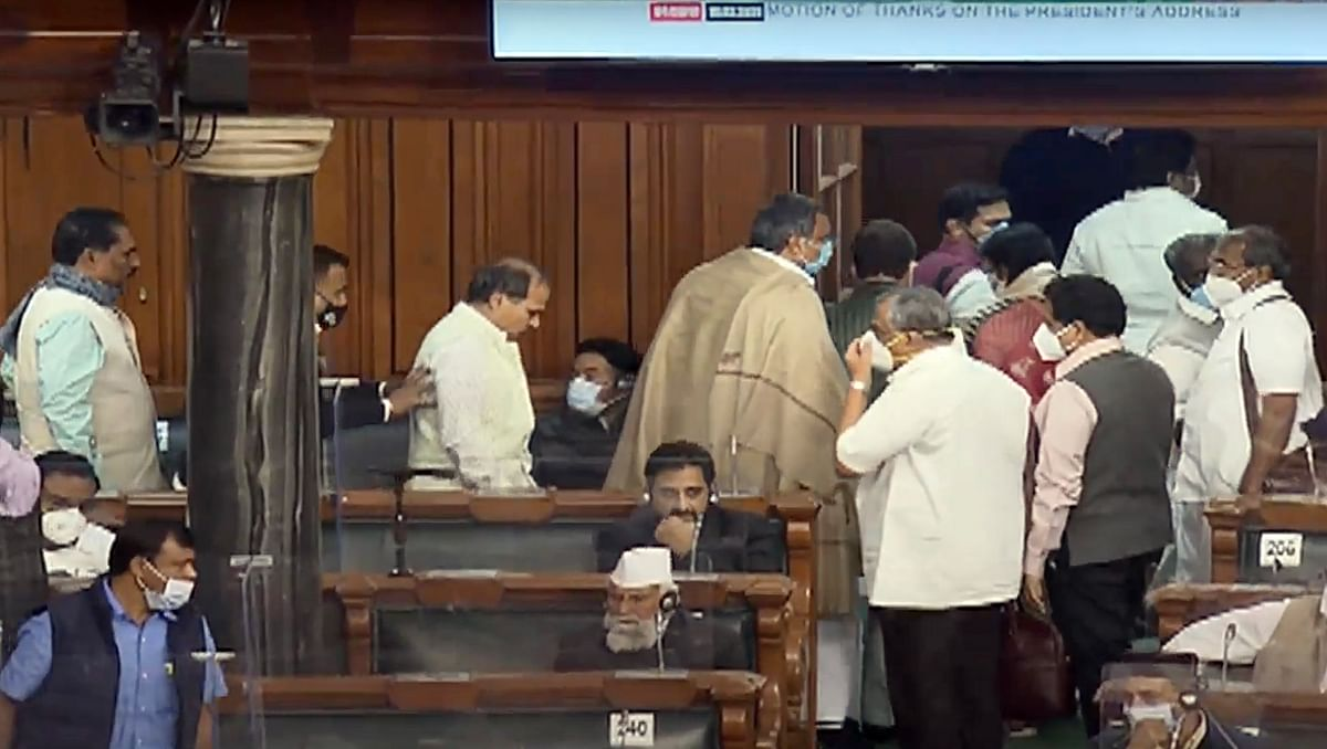 Congress Party walks out from Lok Sabha during Prime Minister Narendra Modis reply in Lok Sabha to the Motion of Thanks on the President?s Address during the Budget Session of Parliament in New Delhi on Wednesday.
