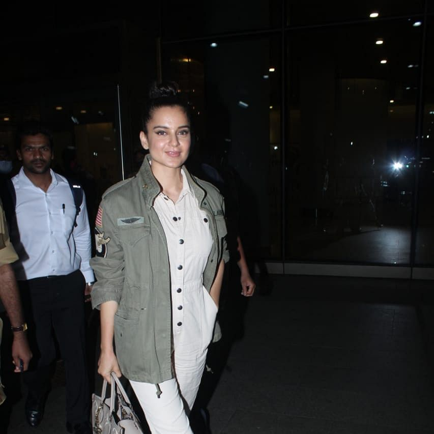 Kangana spotted at airport without mask; netizens urge Mumbai Police to issue challan