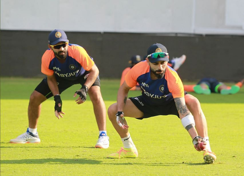 Virat Kohli at the nets on the eve of the 1st Test in Chennai on Thursday