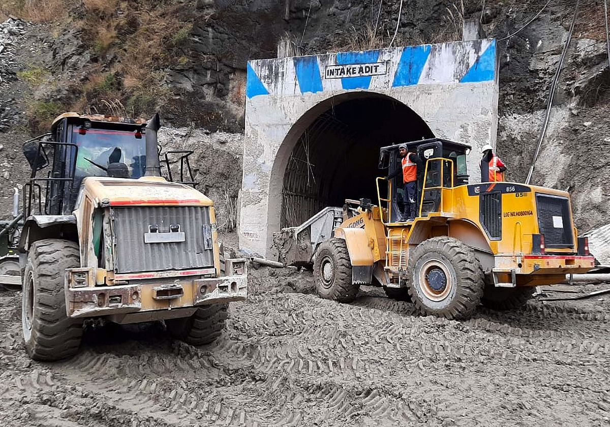 A rescue and rehabilitation operation continues inside Tapovan Tunnel after the glacier burst, in Chamoli on Thursday