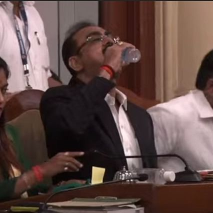 Excitement or Tension? BMC official drinks sanitizer instead of water during Budget presentation