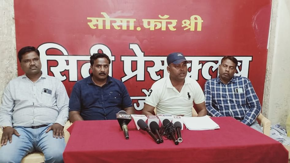 Devendra Sharma, director of Aradhya Care, addresses the press conference in Ujjain on Sunday