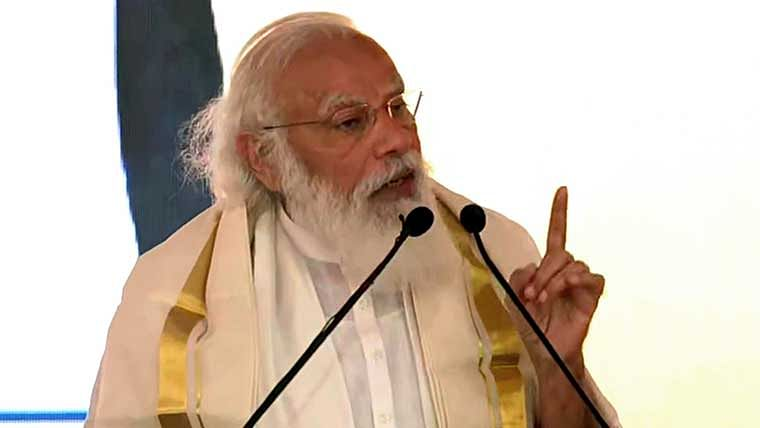 Prime Minister Narendra Modi addresses during the inauguration of various development projects to the nation, in Kochi