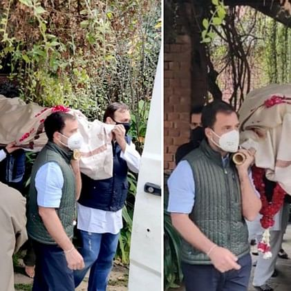 Rahul Gandhi turns pallbearer for Congress veteran Captain Satish Sharma