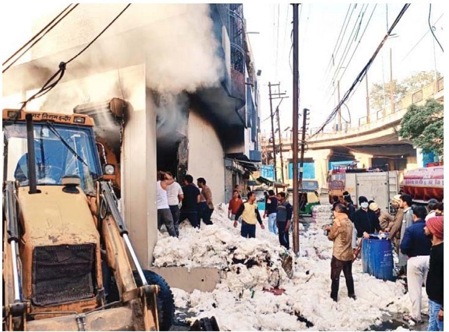 Fire at cotton godown near Rajkumar Bridge in Indore on Wednesday