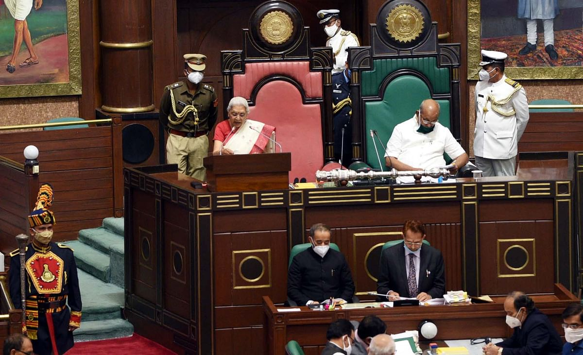 Madhya Pradesh Governor Anandiben Patel addresses the House on the first day of the Budget session on Monday.
